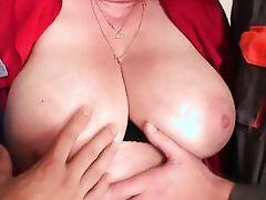 whip cream on grandma's big boobs