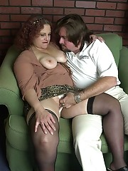 Fat redhead's panties are in her fat pussy