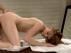 Redhead Marie McCray oiled massage and sweet sex