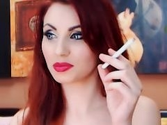 Redhead teasing and smoking
