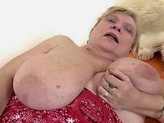 Very old granny with big tits and hairy pussy