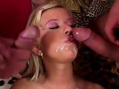 Blonde fills pussy with ben-wa balls