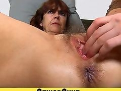 Hairy old pussy of grandma Lada on close-ups