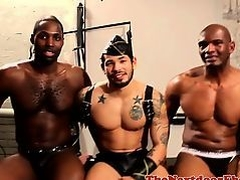 Black hunk rimmed in interracial threesome