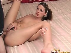 Beautiful girl in pigtails Nadia Rio is a very naughty in be