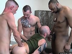 Latin gays double penetration and cumshot