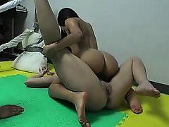 Oily lesbian wrestling