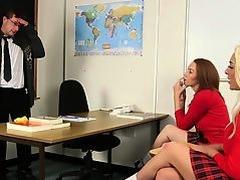 CFNM schoolgirl babes jerking off teacher