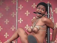 Ebony sub ball tied and gagged by maledom