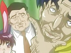 Sexual hentai girls touching a fatty dudes body with lust