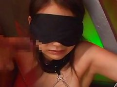 tied and blindfolded japanese teen made to suck cock