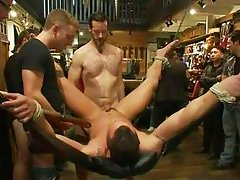 hardcore gay gangbang in a public store