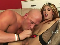 Hot seductive shemale Domino Presley gets her cock sucked