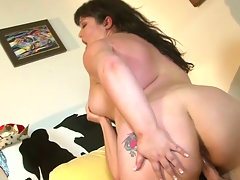 Plump girl Kelly Shibari rides cock like crazy