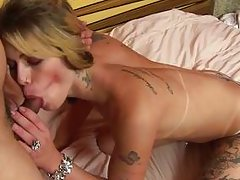 horny blonde shemale playing in the bed