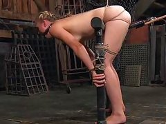 tracey prodded with dildo on a stick