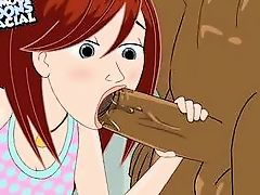 attractive redhead sucks black cartoon cock