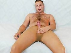 blue eyes gay rubs his cock in nylons